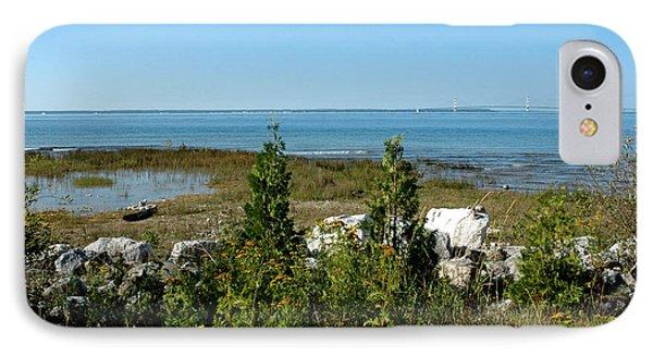 IPhone Case featuring the photograph Mackinac Island View Of Bridge by LeeAnn McLaneGoetz McLaneGoetzStudioLLCcom