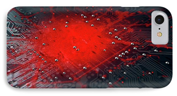 Macro Circuit Board Infection IPhone Case by Allan Swart