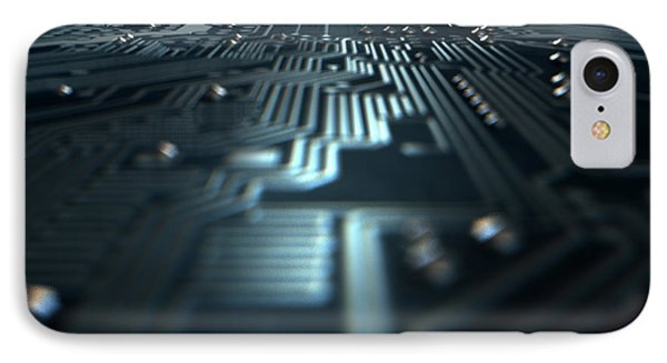 Macro Circuit Board Technology IPhone Case by Allan Swart