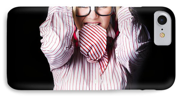 Mad And Angry Businesswoman Pulling Out Hair Phone Case by Jorgo Photography - Wall Art Gallery