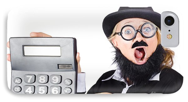 Mad Female Accountant With Calculator IPhone Case by Jorgo Photography - Wall Art Gallery