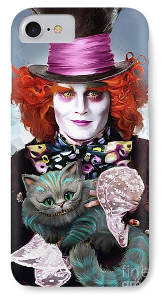 Mad Hatter And Cheshire Cat IPhone Case by Melanie D