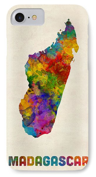 IPhone Case featuring the digital art Madagascar Watercolor Map by Michael Tompsett