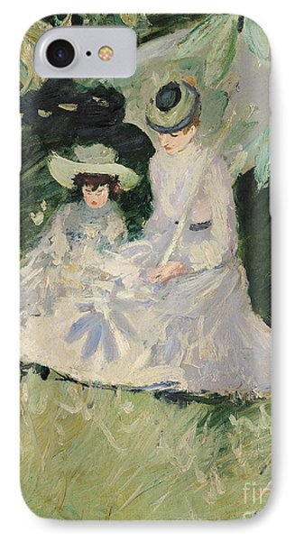 Madame Helleu And Her Daughter At The Chateau Of Boudran Phone Case by Paul Cesar Helleu