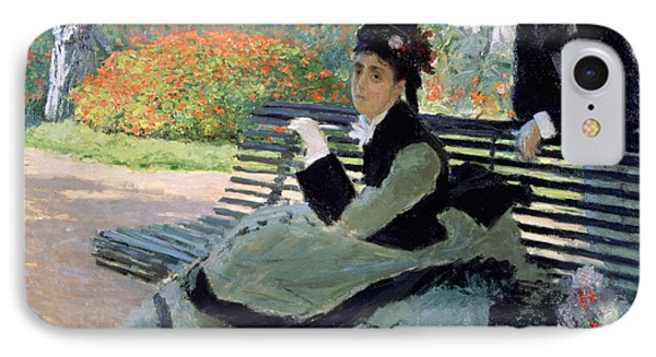 Madame Monet On A Garden Bench IPhone Case by Claude Monet