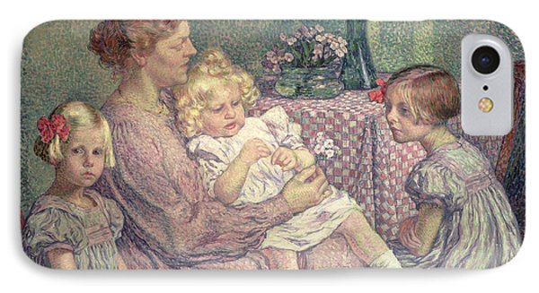 Madame Van De Velde And Her Children IPhone Case by Theo van Rysselberghe