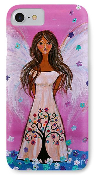 IPhone Case featuring the painting Pink Angel Of Life by Pristine Cartera Turkus