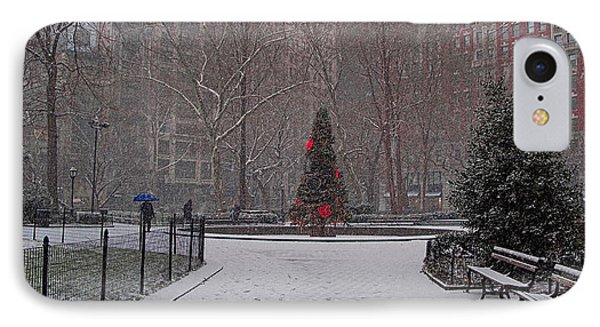 Madison Square Park In The Snow At Christmas Phone Case by Chris Lord