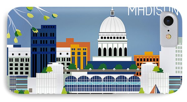 Madison Wisconsin Horizontal Skyline IPhone Case by Karen Young