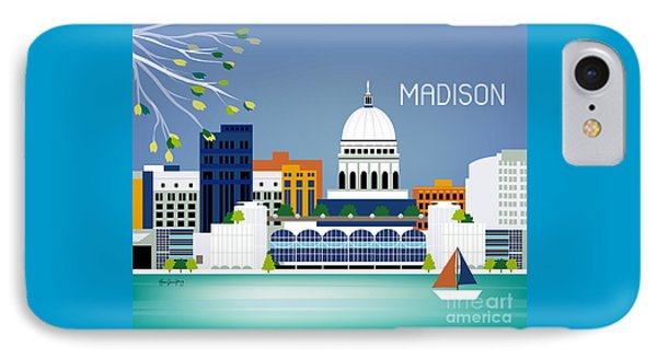 Capitol Building iPhone 7 Case - Madison Wisconsin Horizontal Skyline by Karen Young