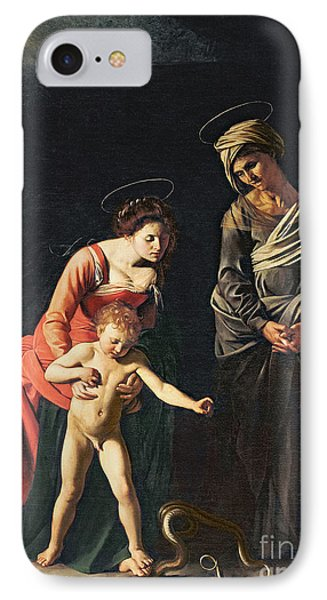 Madonna And Child With A Serpent IPhone Case by Michelangelo Merisi da Caravaggio