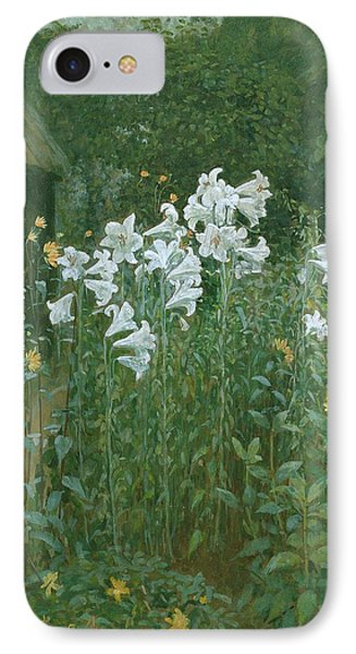 Madonna Lilies In A Garden Phone Case by Walter Crane