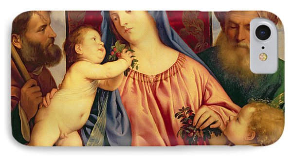 Madonna Of The Cherries With Joseph IPhone Case by Titian