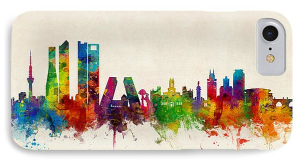 Madrid Spain Skyline IPhone Case by Michael Tompsett