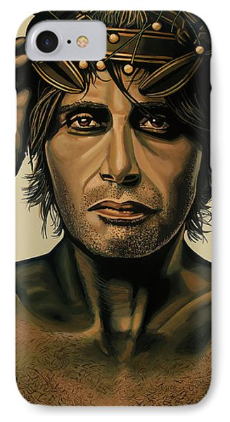 Mads Mikkelsen Painting IPhone Case by Paul Meijering