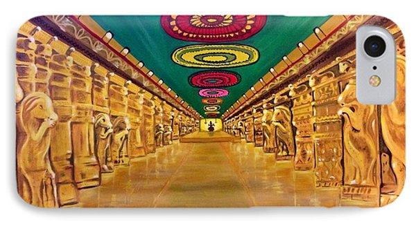 IPhone Case featuring the painting Madurai Meenakshi Temple Mandapam by Brindha Naveen