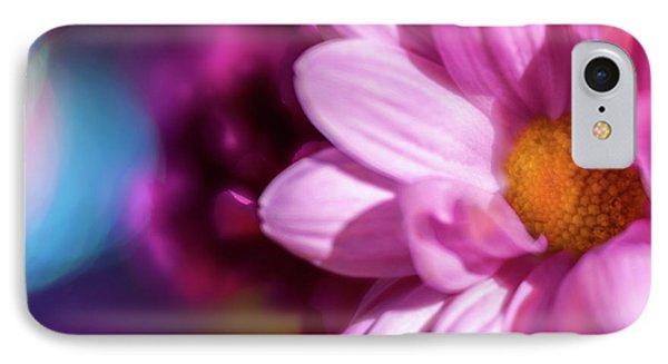 Magenta Floral On Blue IPhone Case