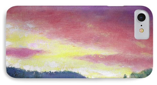 IPhone Case featuring the painting Magenta Sunset Oil Landscape by Judith Cheng