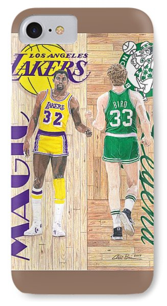 Magic Johnson And Larry Bird IPhone 7 Case by Chris Brown