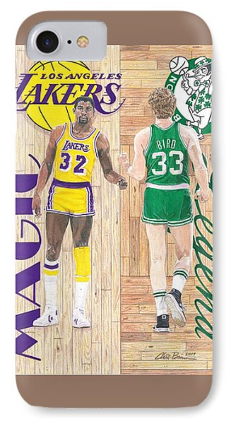 Magic Johnson And Larry Bird IPhone Case by Chris Brown