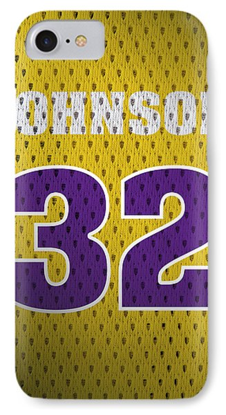 Magic Johnson Los Angeles Lakers Number 32 Retro Vintage Jersey Closeup Graphic Design IPhone Case by Design Turnpike