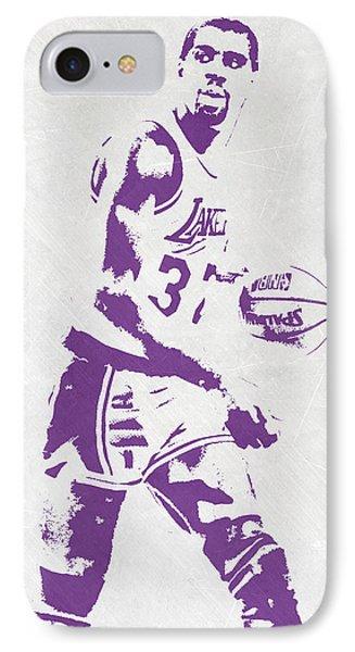 Magic Johnson Los Angeles Lakers Pixel Art IPhone 7 Case by Joe Hamilton