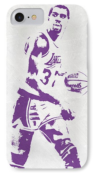 Magic Johnson Los Angeles Lakers Pixel Art IPhone Case by Joe Hamilton