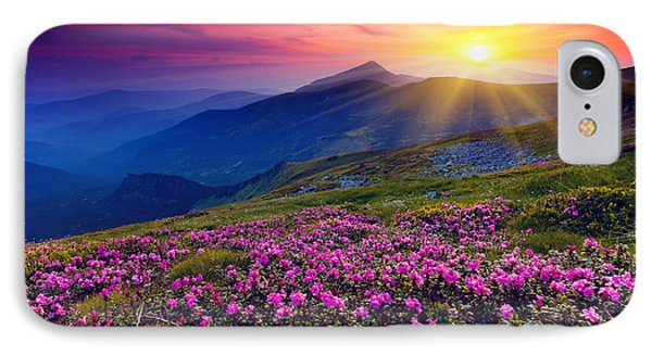 Magic Pink Rhododendron Flowers On Summer Mountain IPhone Case by Caio Caldas