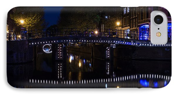 Magical Amsterdam Night - Blue White And Purple Lights Symmetry IPhone Case