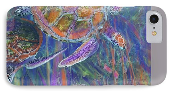 Magical Sea Turtles  IPhone Case by Julianne Ososke