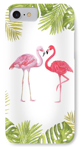 IPhone Case featuring the painting Magical Tropicana Love Flamingos And Leaves by Georgeta Blanaru