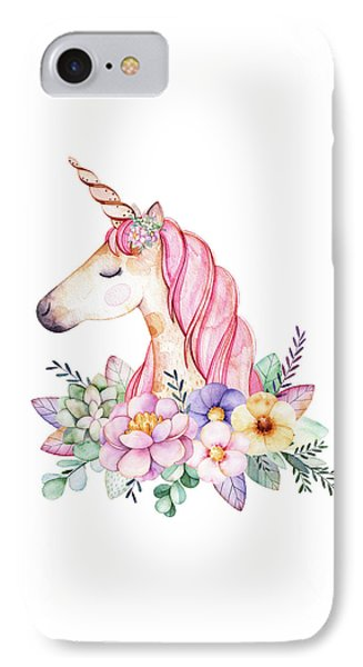 Unicorn iPhone 7 Case - Magical Watercolor Unicorn by Lisa Spence