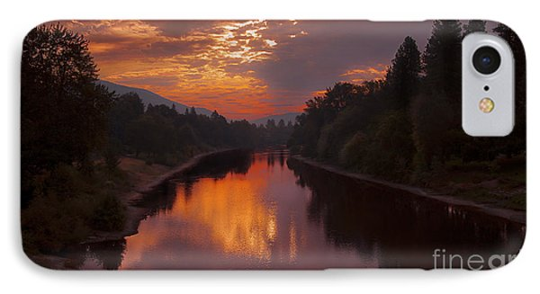Magnificent Clouds Over Rogue River Oregon At Sunset  IPhone Case