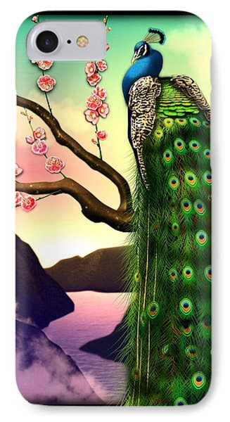 Magnificent Peacock On Plum Tree In Blossom IPhone Case by John Wills
