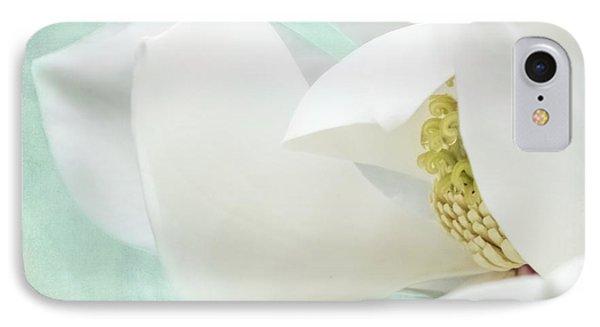 Magnolia Blossom, Soft Dreamy Romantic White Aqua Floral IPhone Case