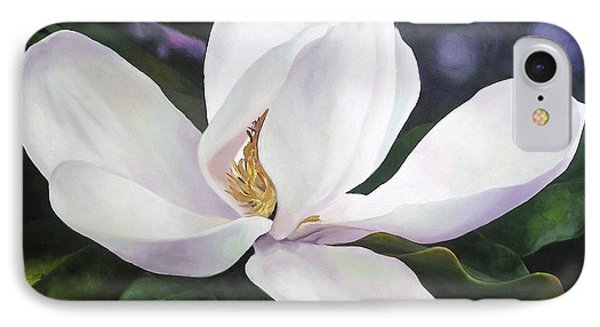 IPhone Case featuring the painting Magnolia Flower by Chris Hobel