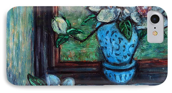 IPhone Case featuring the painting Magnolias In A Blue Vase By The Window by Xueling Zou