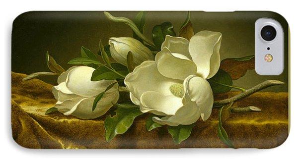 Magnolias On Gold Velvet Cloth  IPhone Case by Martin Johnson Heade
