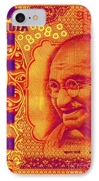 IPhone Case featuring the digital art Mahatma Gandhi 500 Rupees Banknote by Jean luc Comperat