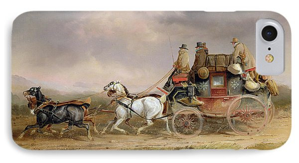 Mail Coaches On The Road - The Louth-london Royal Mail Progressing At Speed IPhone Case