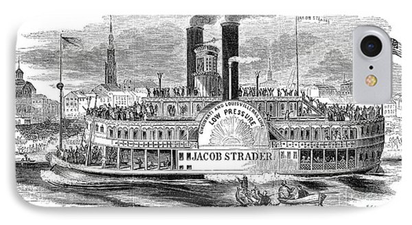 Mail Steamboat, 1854. /nthe Louisville Mail Company Steamboat Jacob Strader. Wood Engraving, 1854 Phone Case by Granger