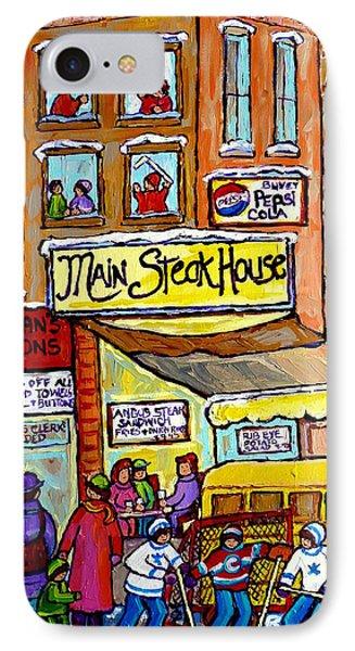 Main Steakhouse Montreal Memoriesjewish Inner City Scene Hockey Art Carole Spandau Winter  Paintings IPhone Case
