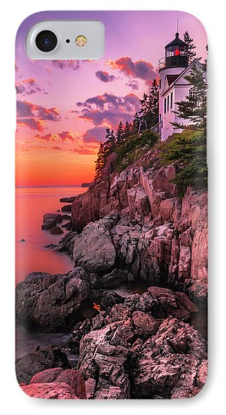 IPhone Case featuring the photograph Maine Bass Harbor Lighthouse Sunset by Ranjay Mitra