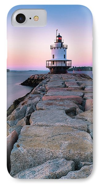 IPhone Case featuring the photograph Maine Coastal Sunset Over The Spring Breakwater Lighthouse by Ranjay Mitra