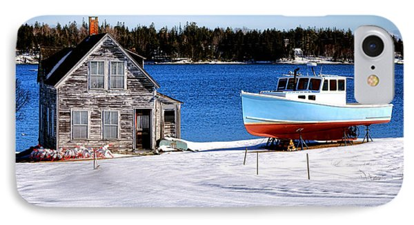 Maine Harbor Winter Scene IPhone Case by Olivier Le Queinec