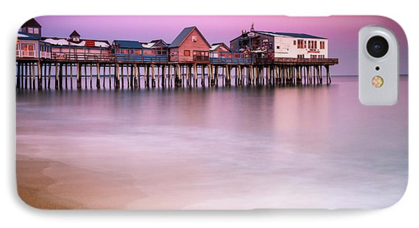 IPhone Case featuring the photograph Maine Old Orchard Beach Pier Sunset  by Ranjay Mitra