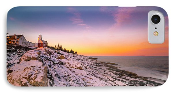 IPhone Case featuring the photograph Maine Pemaquid Lighthouse In Winter Snow by Ranjay Mitra