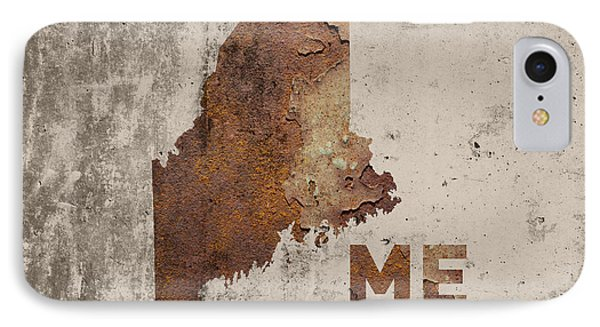 Maine State Map Industrial Rusted Metal On Cement Wall With Founding Date Series 021 IPhone Case