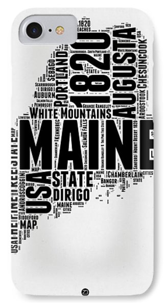 Maine Word Cloud 2 IPhone Case by Naxart Studio