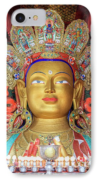 IPhone Case featuring the photograph Maitreya Buddha Statue by Alexey Stiop